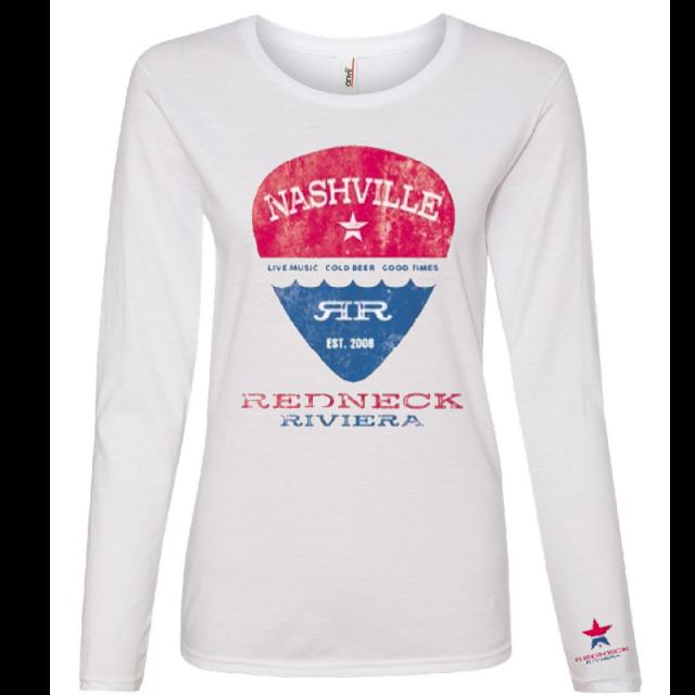 Redneck Riviera Ladies Long Sleeve White Tee