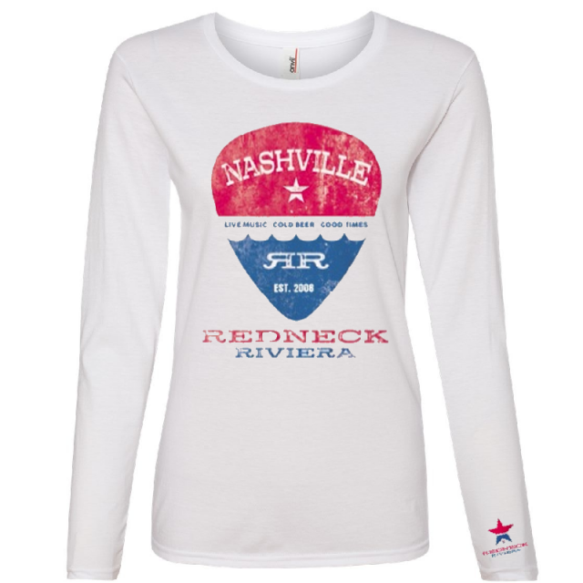 Redneck Riviera Ladies Long Sleeve White Tee