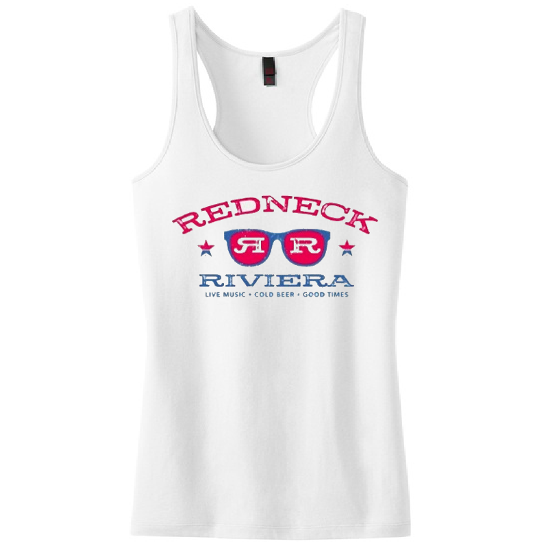 Redneck Riviera Ladies White Sunglasses Tank
