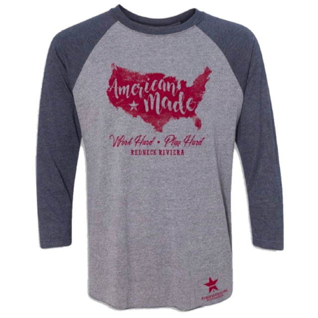 Redneck Riviera Unisex Heather Grey and Navy Raglan