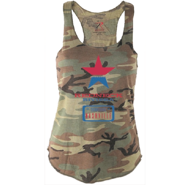 Redneck Riviera Ladies Camo Logo Server Tank